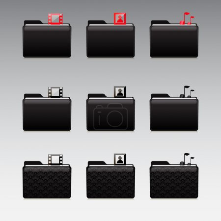 Illustration for Multimedia icons set - photo and video and music - Royalty Free Image