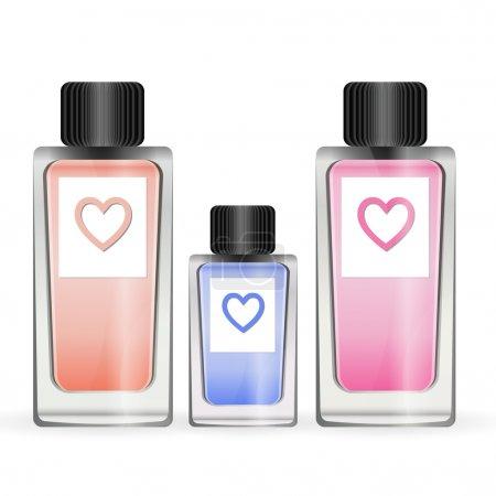 Illustration pour Illustration d'un ensemble de trois petites bouteilles de parfumerie féminine de différentes couleurs - image libre de droit