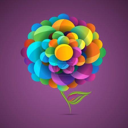 Illustration pour Fleur colorée avec fond violet - image libre de droit