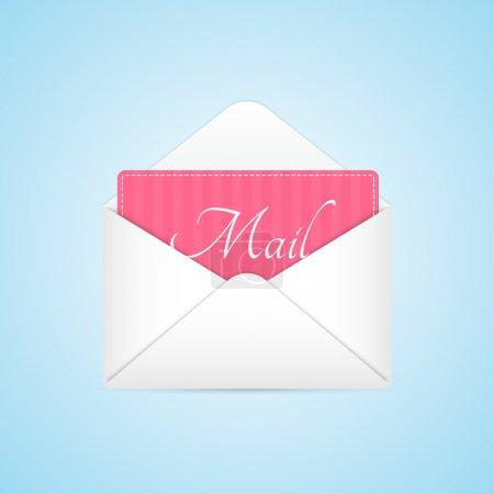 Illustration pour Enveloppe ouverte avec feuille de papier rose - image libre de droit