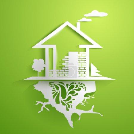 Photo pour Maison en argent dans l'affichage vert - image libre de droit