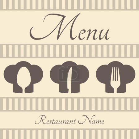 Restaurant sign menu with spoon, fork and knife