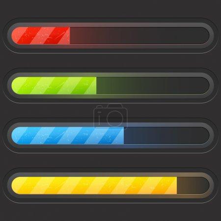 Illustration pour Ensemble de barres de chargement couleur moderne - image libre de droit