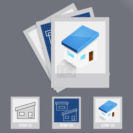 House Building Steps Vector