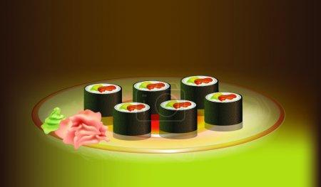 Illustration pour Sushi Vector Art, design vectoriel - image libre de droit