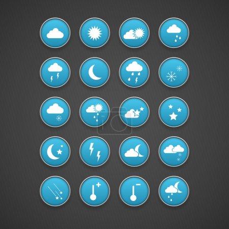 Illustration pour Icônes Bleu Météo, design vectoriel - image libre de droit