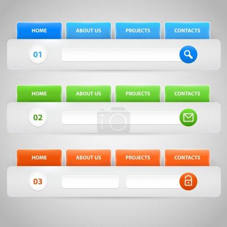 Web site design template navigation elements with icons set: Navigation menu bars