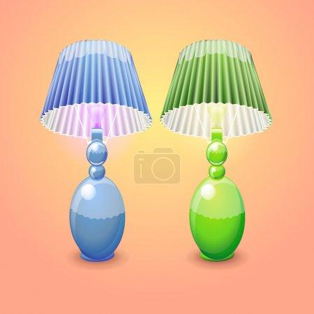Illustration pour Illustration de lampes de table isolées - image libre de droit