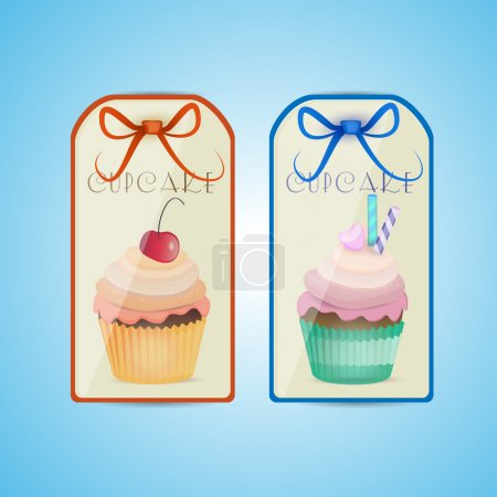 Illustration pour Étiquettes cupcake, design vectoriel - image libre de droit