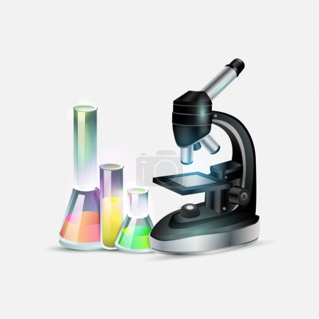 Illustration for Scientific laboratory equipment: microscope and laboratory bottles. Vector illustration - Royalty Free Image