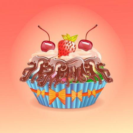 Vektorillustration von Kuchen mit Kirsche und Erdbeere