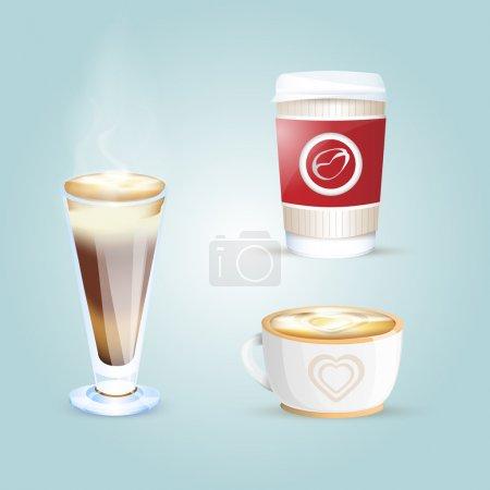 Illustration pour Ensemble vectoriel de tasses à café . - image libre de droit