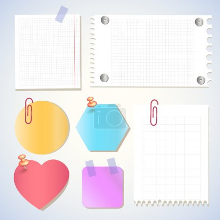 Paper notes, memo stickers. Vector Illustration