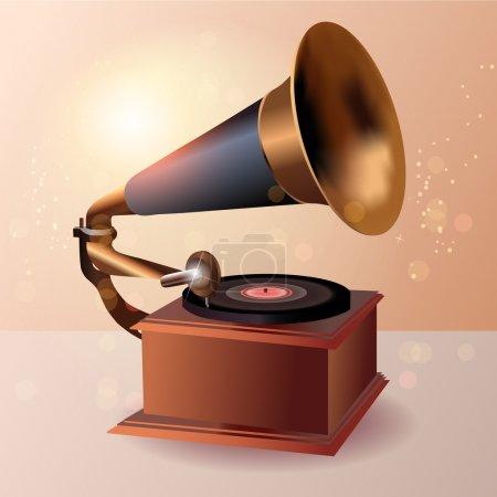 Illustration for Gramophone speaker, vector design - Royalty Free Image