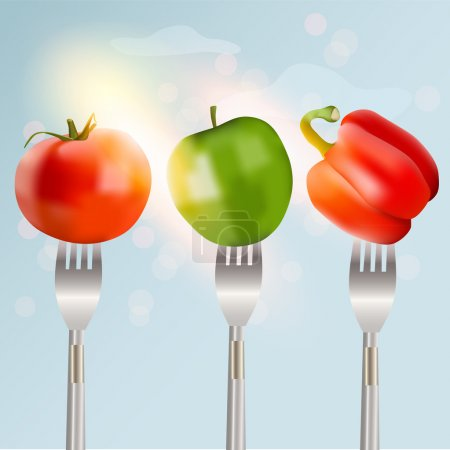 Pepper, tomato and apple on forks Concept of diet. Vector illustration.
