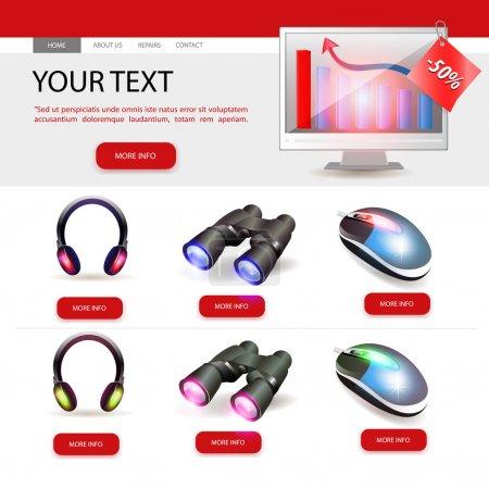 Shop website template design. Vector