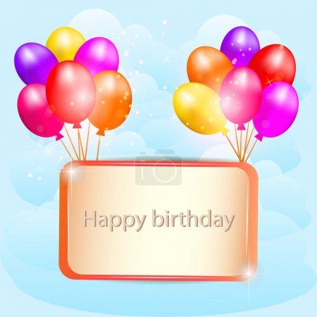 Illustration pour Illustration pour carte de joyeux anniversaire avec ballons. Vecteur. - image libre de droit