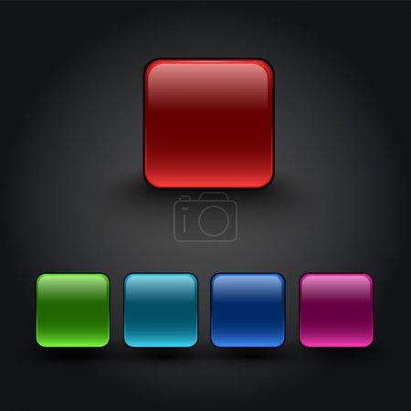 Illustration pour Boutons carrés de couleur vectorielle - image libre de droit