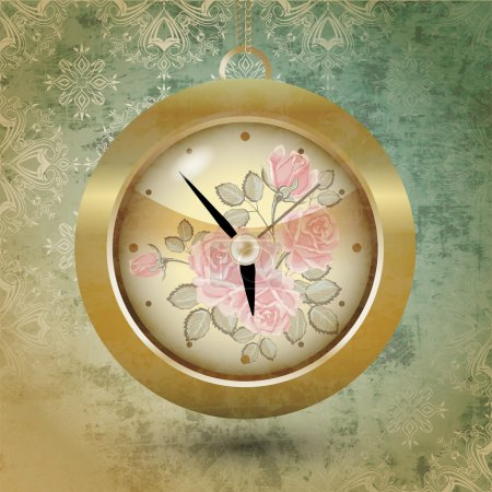Illustration pour Conception florale de l'horloge. Vecteur - image libre de droit