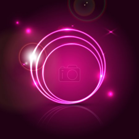 Pink round shapes on black. Vector background