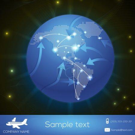 trajectoires de vol de l'avion vecteur au-dessus du globe terrestre