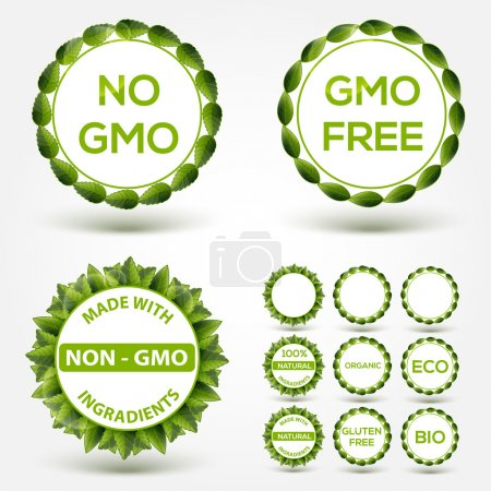 Photo for No GMO food label stickers. Vector - Royalty Free Image