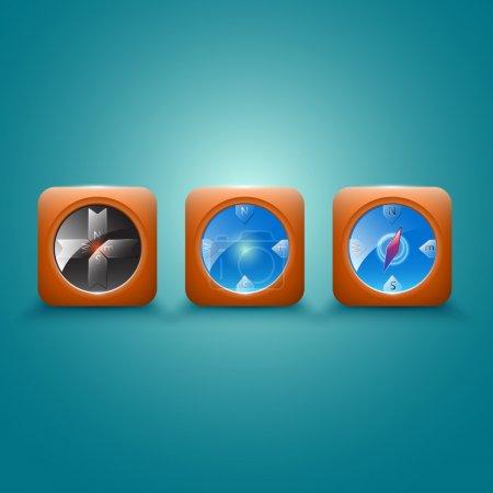 Illustration pour Illustration des icônes vectorielles boussole sur blanc - image libre de droit