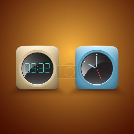 Illustration for Different Clocks vector icons - Royalty Free Image