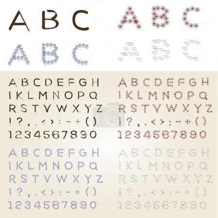Illustration for Set of different vector fonts - Royalty Free Image