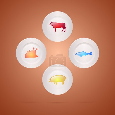 Meat food concept. Vector illustration