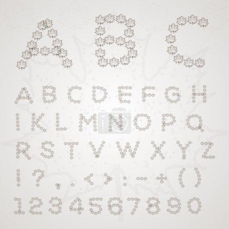 Leaves font. Vector illustration.
