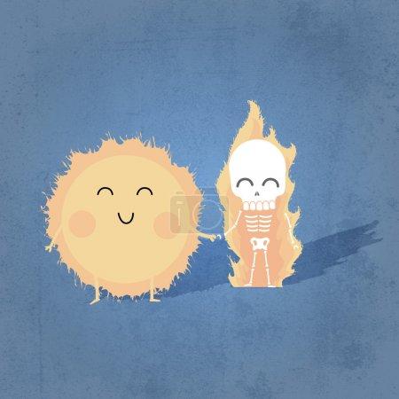 Illustration pour Illustration vectorielle du soleil mignon avec squelette humain tenant la main . - image libre de droit