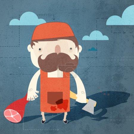 Illustration pour Fond de grunge vectoriel avec boucher . - image libre de droit
