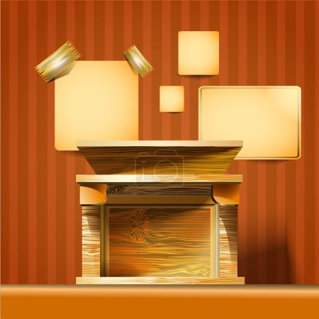 old Fireplace. Vector illustration