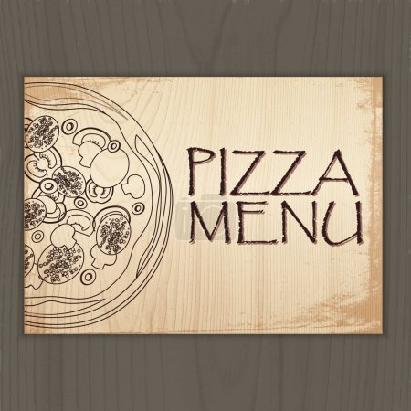 Illustration pour Menu design avec pizza. Illustration vectorielle - image libre de droit