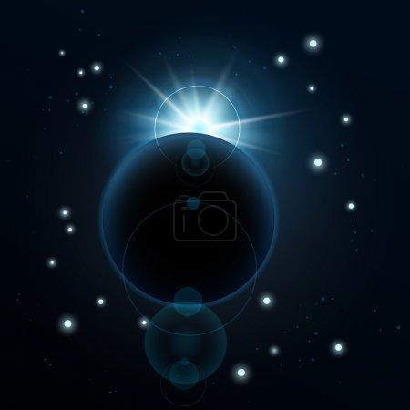 Un planeta azul en el espacio profundo. Ilustración vectorial