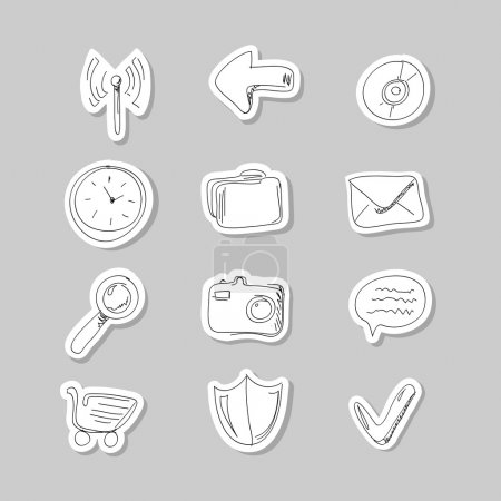 Funny hand-drawn icons set. Vector illustration