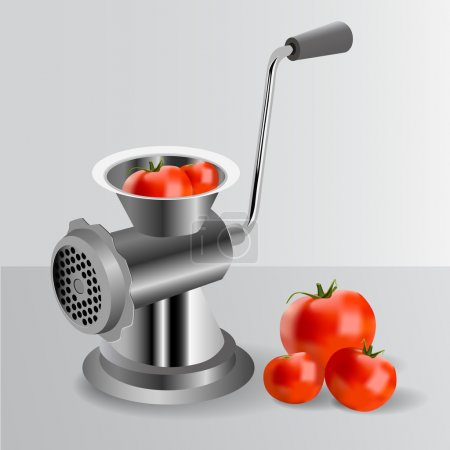 Illustration for Metallic classic mincer with tomatoes. Vector - Royalty Free Image