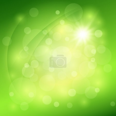 Sunny abstract green nature background. Vector illustration