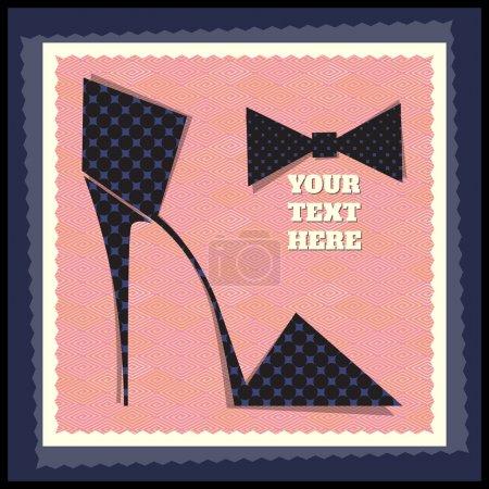 Illustration pour Carte postale de la chaussure de style rétro. Illustration vectorielle - image libre de droit