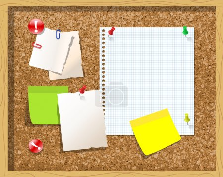 Corkboard with paper notes, memo stickers. Vector Illustration
