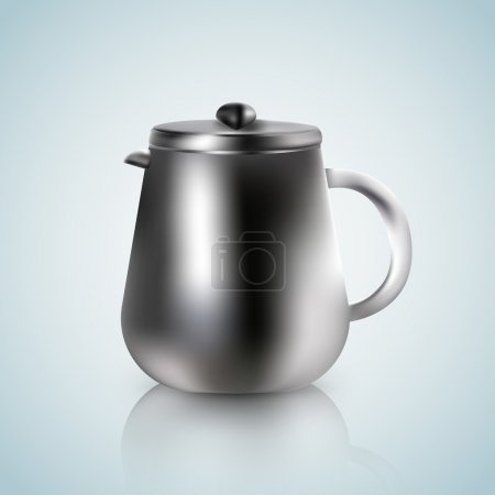 Illustration for Kettle on a white blue background - Royalty Free Image