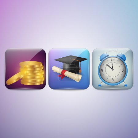 Diploma, Clock and Money Icon
