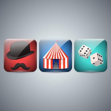 Illustration pour Icône de cirque, chapeau et dés - image libre de droit