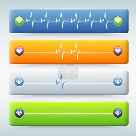 Illustration pour Fond avec différents types de cardiogramme - image libre de droit