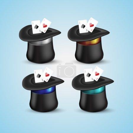 Zauberhut mit Spielkarten-Symbol