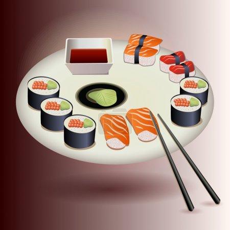 Illustration pour Ensemble de plaques de Sushi vectoriel - image libre de droit