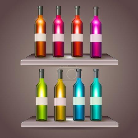 Illustration pour Ensemble de bouteilles de vin de couleur avec étiquettes vierges - image libre de droit
