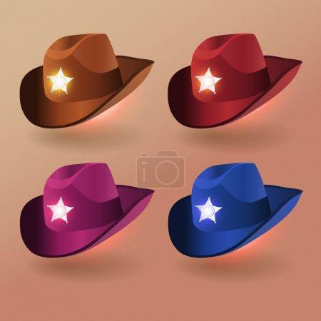 Illustration pour Vecteur, ensemble de chapeaux de shérif - image libre de droit