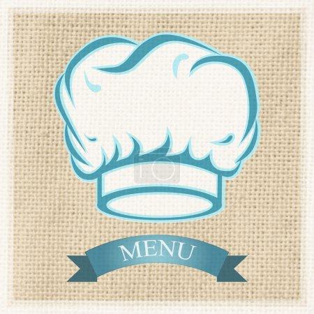 Illustration pour Casquette de chef sur la carte de menu - image libre de droit